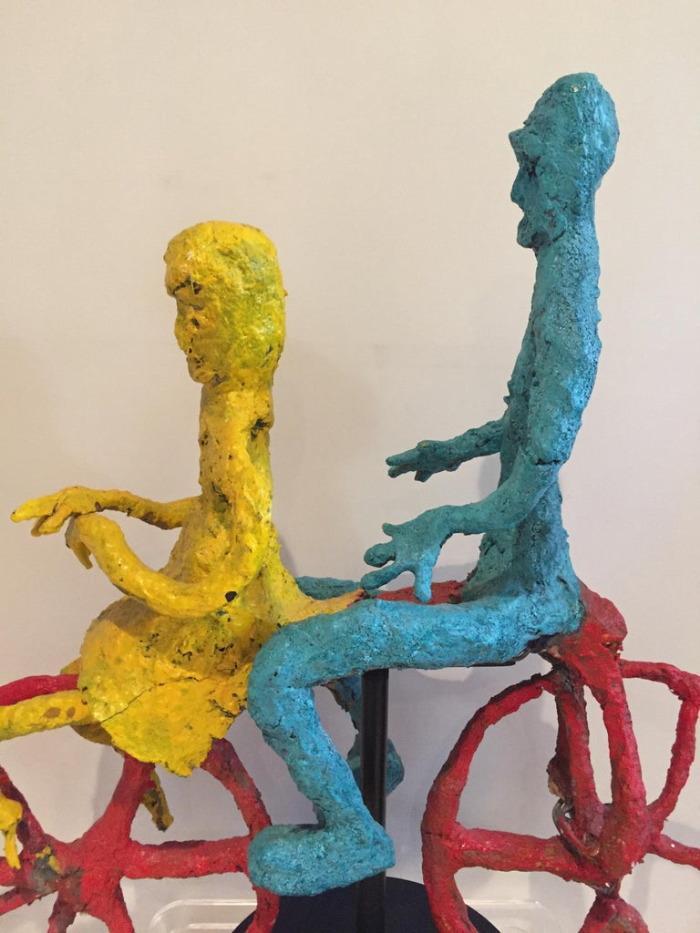20th Century Wyona Diskin Couple Riding a Bicycle Large Sculpture For Sale