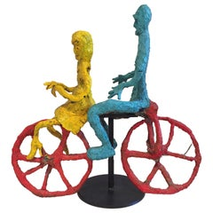 Wyona Diskin Couple Riding a Bicycle Large Sculpture