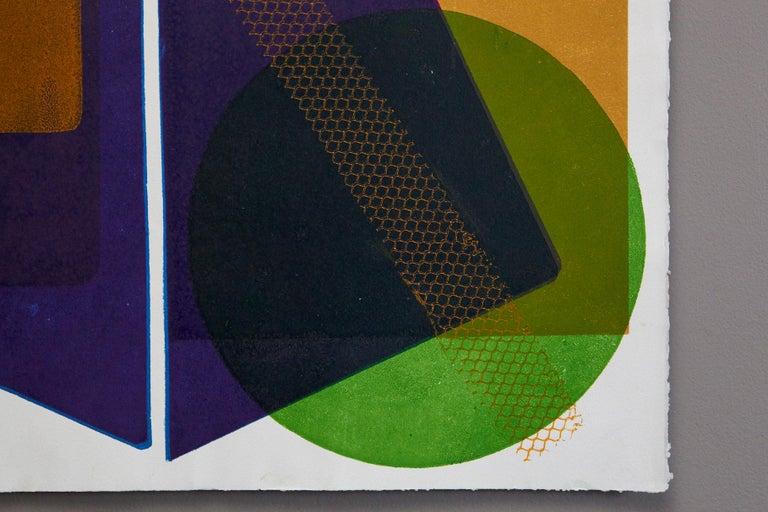 Blue Pyramid - Brown Abstract Print by Wyona Diskin