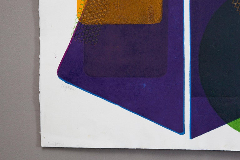 Wyona Diskin, American (1915 - 1991) Blue Pyramid Monoprint, Double signature in lower left. Unframed.  There are two tiny pinholes to the very top of the sheet.  Wyona Diskin's abstract monoprints juxtapose strong geometric forms and dynamic color