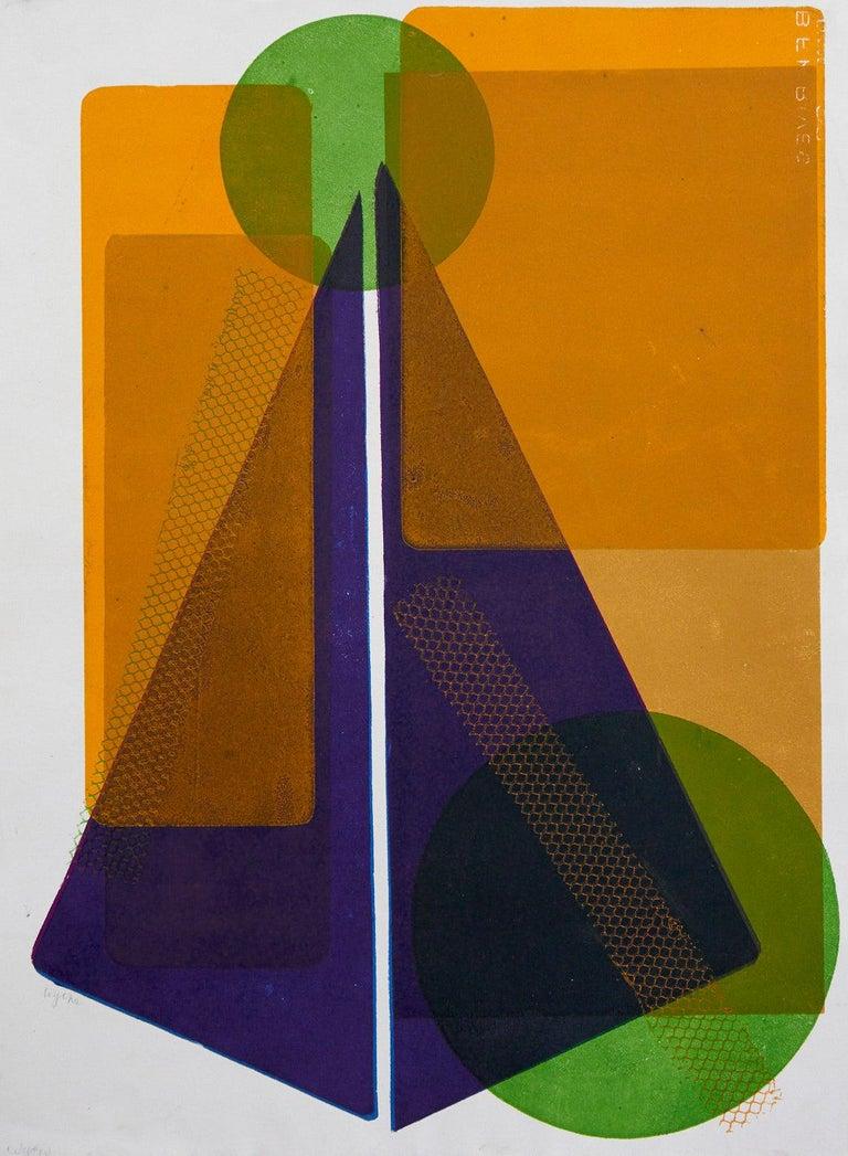 Wyona Diskin Abstract Print - Blue Pyramid