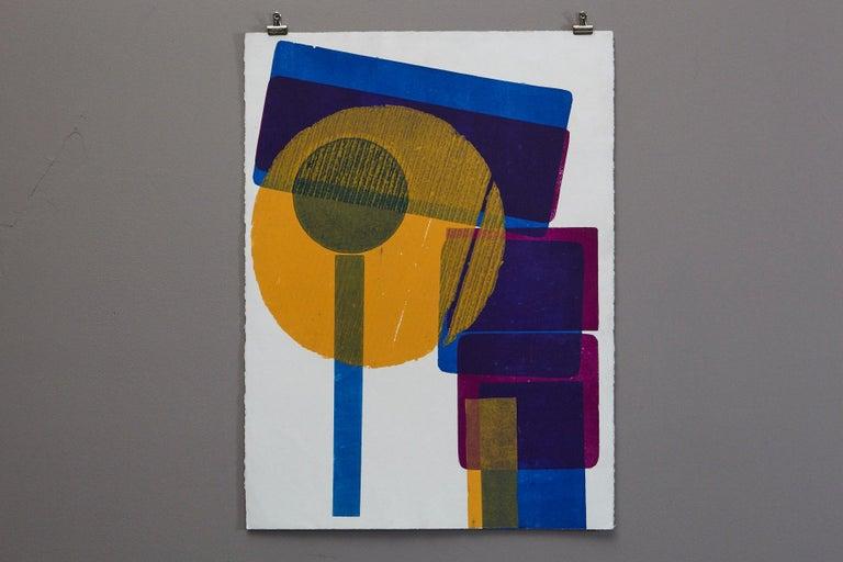 Blue Squares with Orange Circle - Print by Wyona Diskin