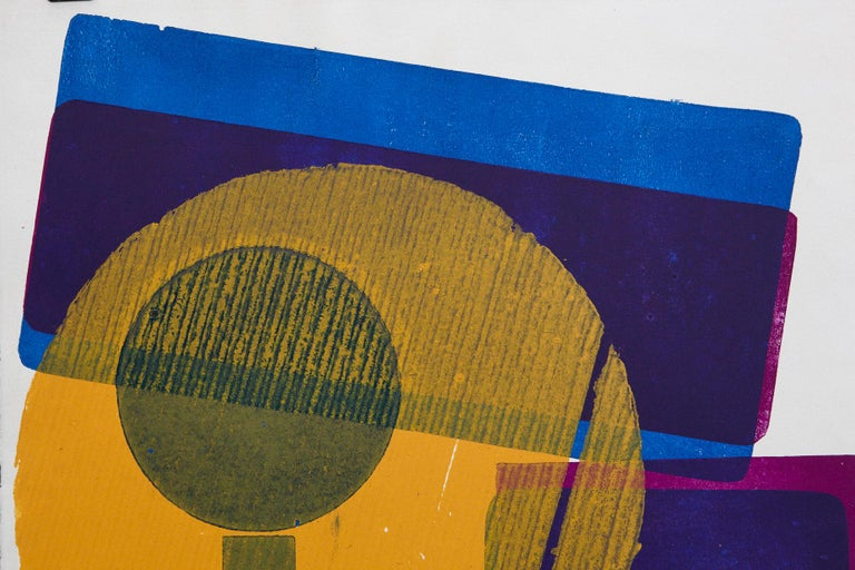 Blue Squares with Orange Circle - Brown Abstract Print by Wyona Diskin