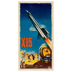 'X-15' Original Vintage Space Age French Movie Poster by Roger Soubie, 1961
