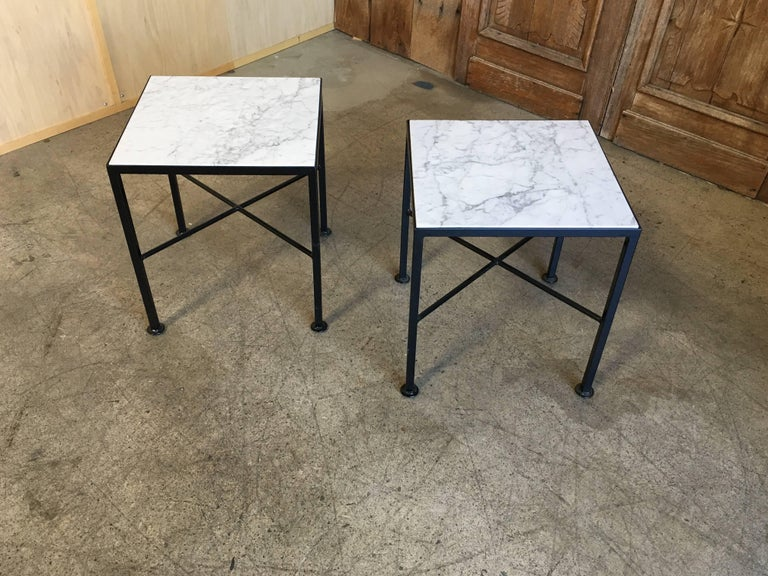 Mid-Century Modern X Base Side Tables with Carrara Marble For Sale