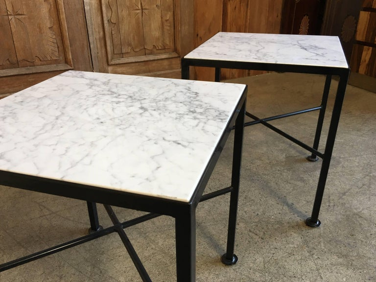 X Base Side Tables with Carrara Marble In Excellent Condition For Sale In Laguna Hills, CA