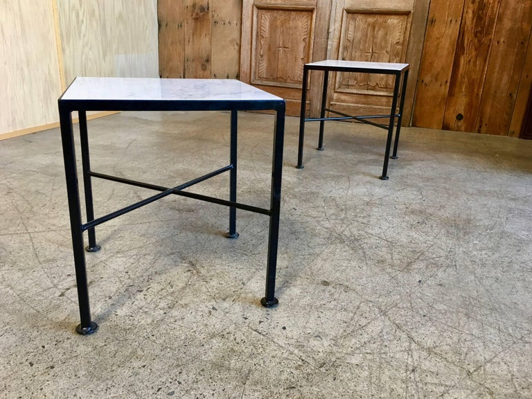 X Base Side Tables with Carrara Marble For Sale 2