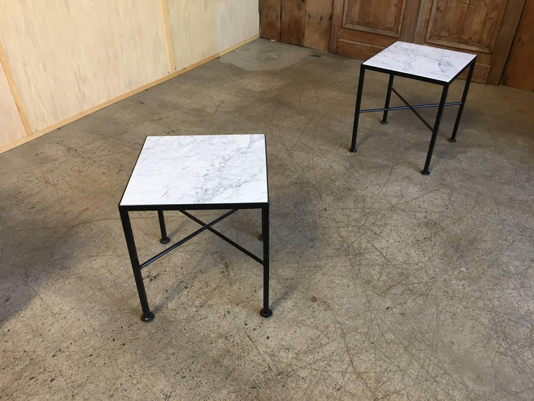X Base Side Tables with Carrara Marble For Sale 3