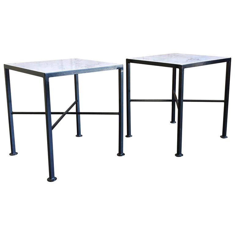 X Base Side Tables with Carrara Marble For Sale