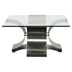 X-Base Stainless Steel Coffee Table by Francois Monnet, 1970s