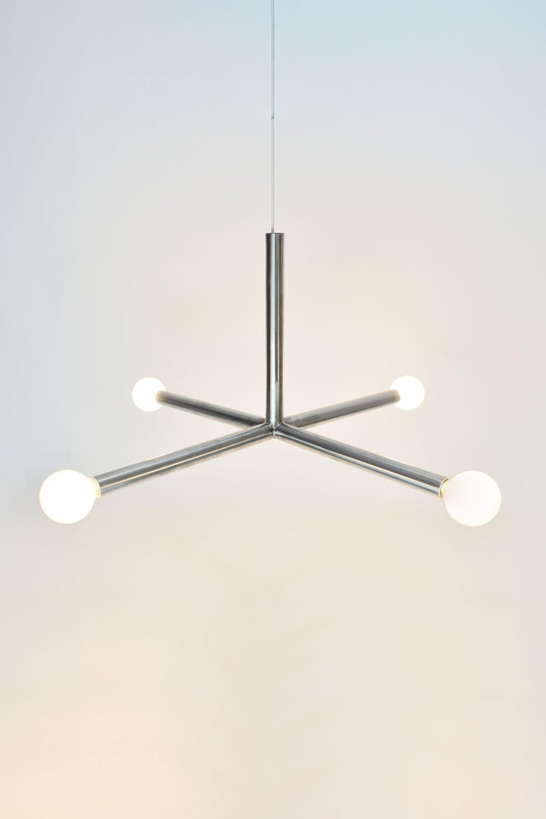 X ceiling lamp by Studio Kuhlmann, 2020 Materials: Stainless steel Dimensions: 90 × 90 × 45 cm  All our lamps can be wired according to each country. If sold to the USA it will be wired for the USA for instance.   Studio Kuhlmann is run by