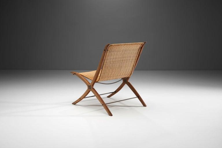"""Scandinavian Modern """"X-Chair"""" by Peter Hvidt & Orla Mølgaard-Nielsen for Fritz Hansen, Denmark, 1959 For Sale"""