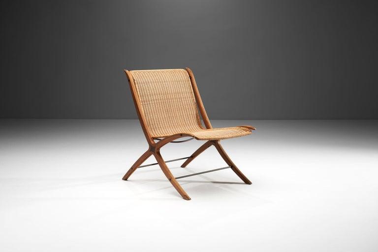 """""""X-Chair"""" by Peter Hvidt & Orla Mølgaard-Nielsen for Fritz Hansen, Denmark, 1959 In Good Condition For Sale In Utrecht, NL"""