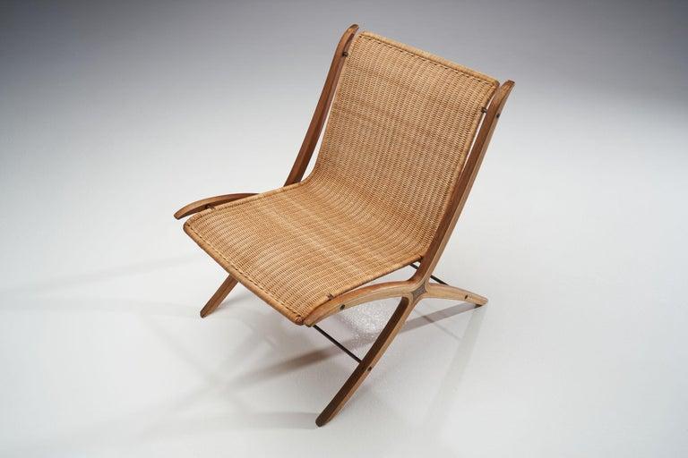 """Mahogany """"X-Chair"""" by Peter Hvidt & Orla Mølgaard-Nielsen for Fritz Hansen, Denmark, 1959 For Sale"""