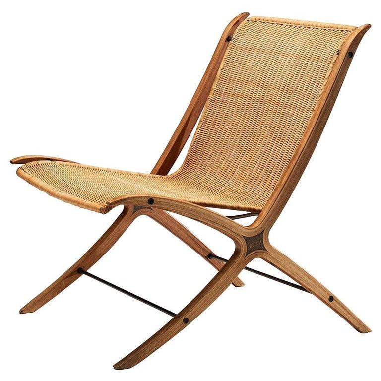 """""""X-Chair"""" by Peter Hvidt & Orla Mølgaard-Nielsen for Fritz Hansen, Denmark, 1959 For Sale"""