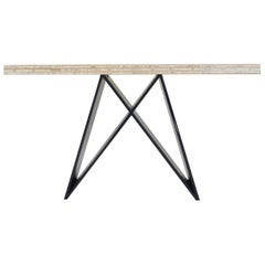 X Console Table with Lacquered Base and Grass Woven with Paper Top