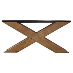 X-Design Serving Table with Reclaimed Pine and Belgian Blue Stone Top