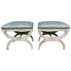 """X"" Frame Fortuny Upholstered White Wash Benches, Pair"