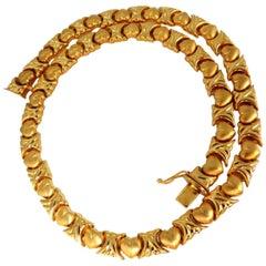X & Heart Link Gold Necklace 14 Karat