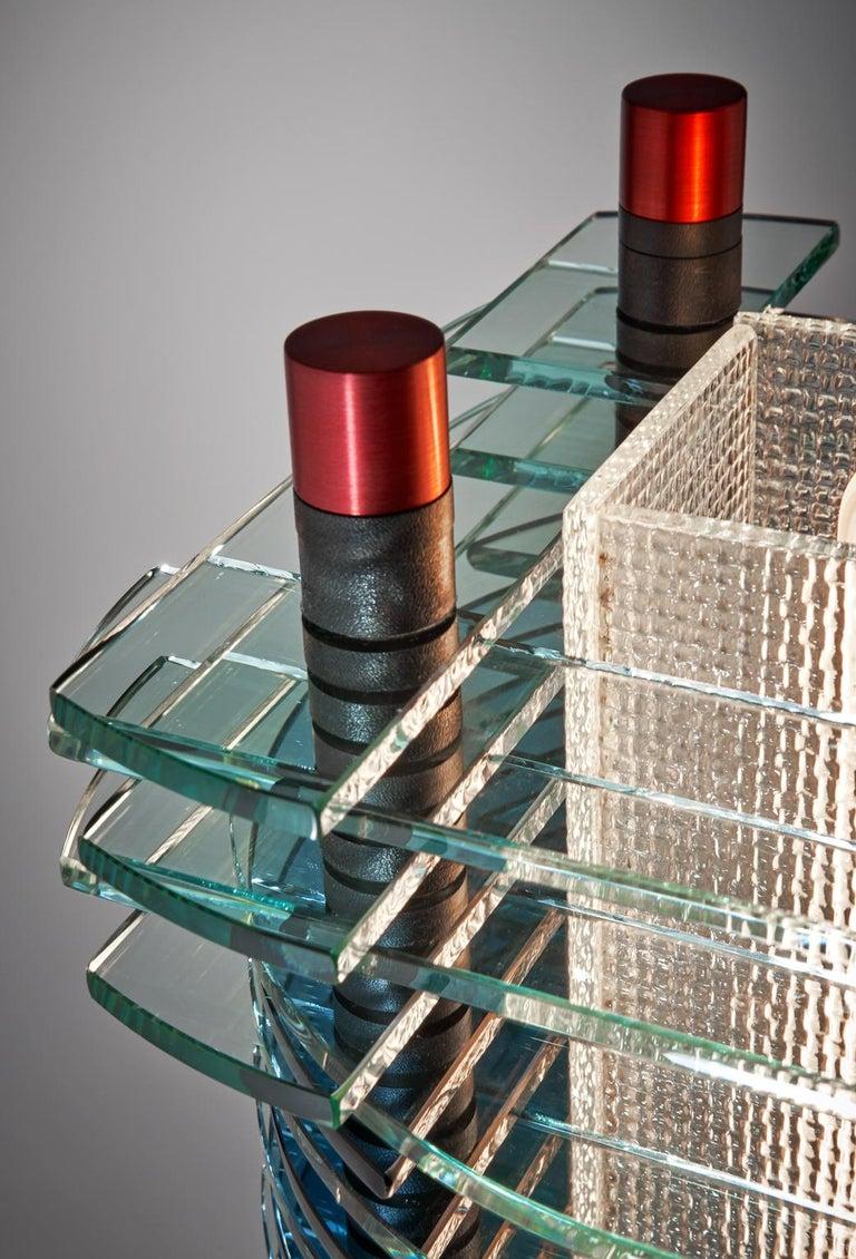 Tischleuchte aus Glas und Aluminium, F-Stop 7