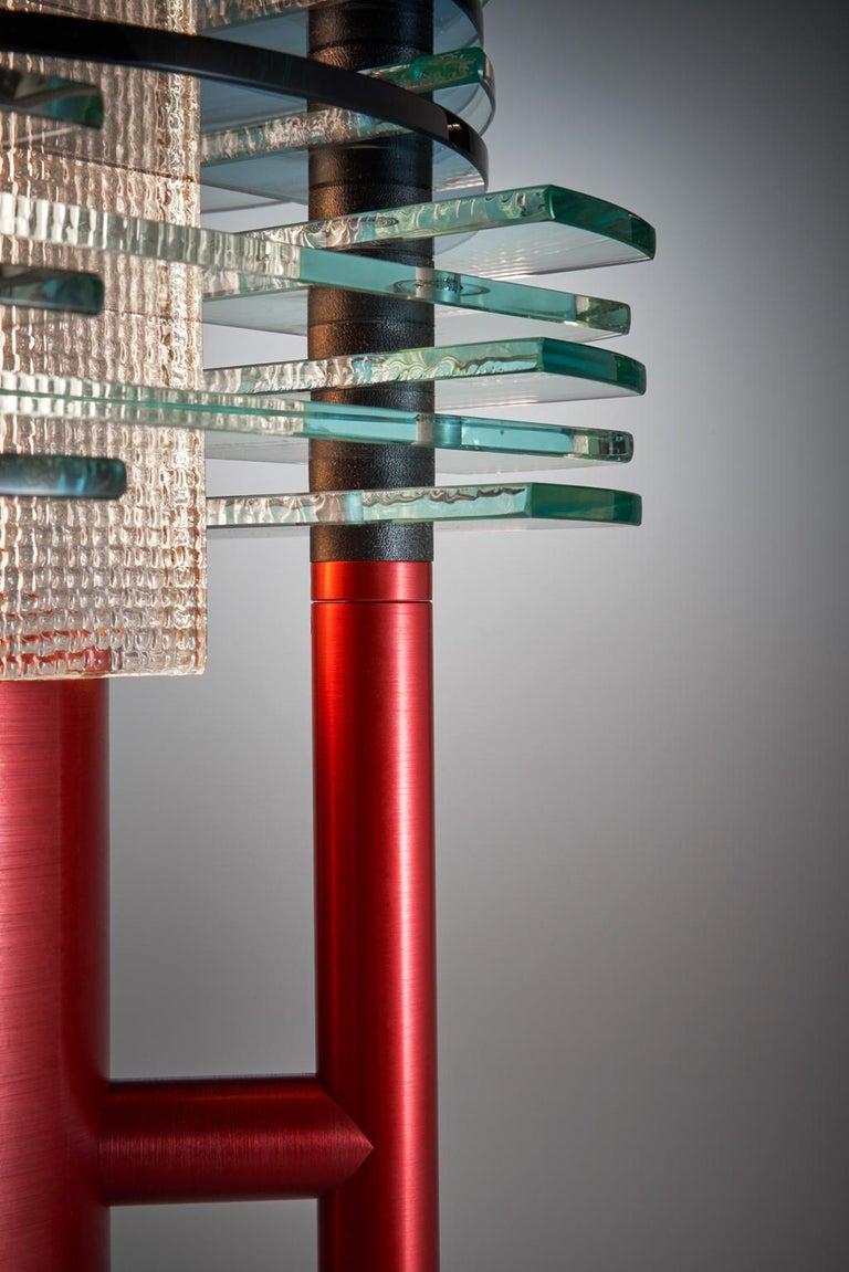 Tischleuchte aus Glas und Aluminium, F-Stop 8