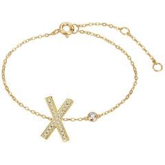 X Initial Bezel Chain Bracelet