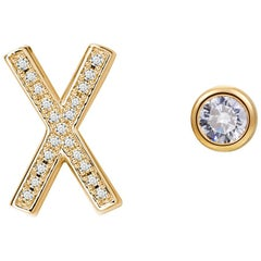 X Initial Bezel Mismatched Earrings