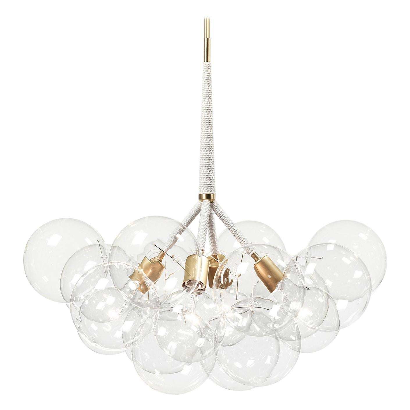X-Large Bubble Chandelier in Natural Cotton and Satin Brass by Pelle