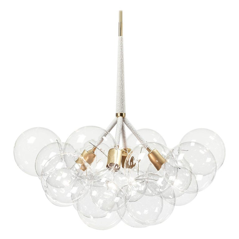 X-Large Bubble Chandelier in Natural Cotton and Satin Brass by Pelle For Sale
