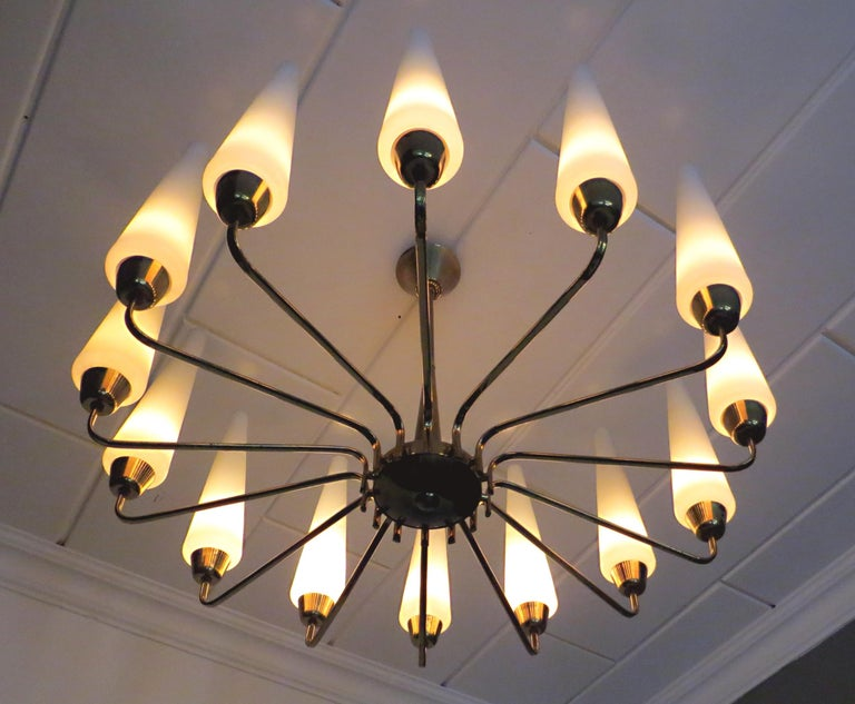 Gilt X-Large French Mid-Century Sunburst Chandelier with 14 White Satin Glasses 1950s For Sale