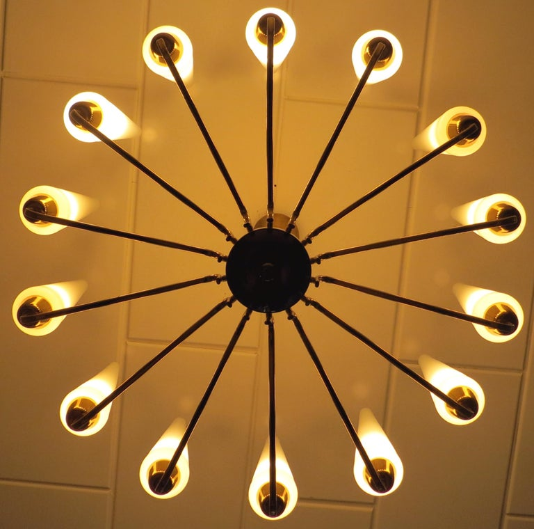 X-Large French Mid-Century Sunburst Chandelier with 14 White Satin Glasses 1950s In Good Condition For Sale In Hamburg, DE