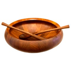 X-Large Massive Solid Teak Salad Bowl & Servers Designed by Quistgaard for Dansk