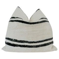 X-Large Vintage Kilim Berber Tribal Pillow / Natural & Black