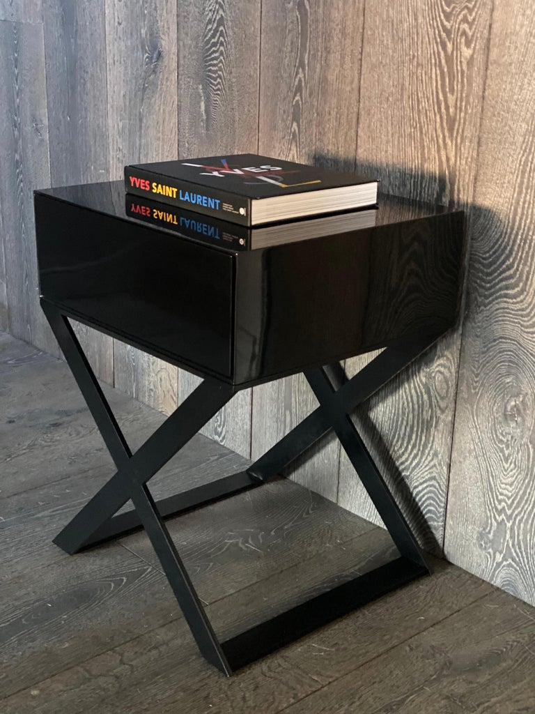 X-Leg Bedside Table in Black Lacquered and Black Powder Coated Steel Legs For Sale 3
