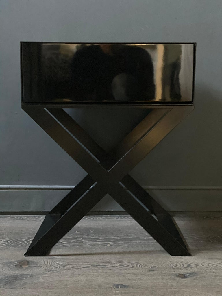 X-Leg Bedside Table in Black Lacquered and Black Powder Coated Steel Legs For Sale 4