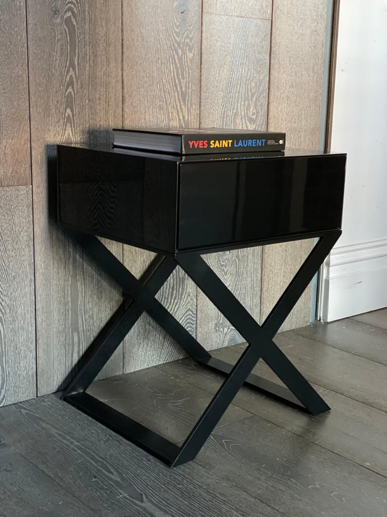 X-Leg Bedside Table in Black Lacquered and Black Powder Coated Steel Legs For Sale 1