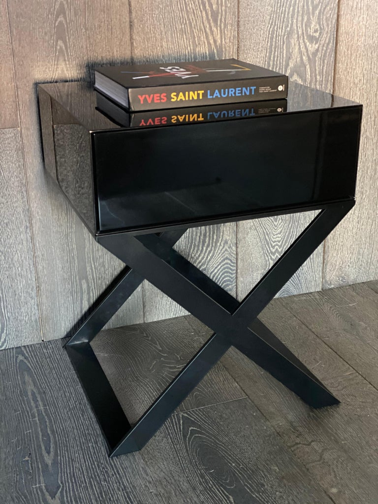 X-Leg Bedside Table in Black Lacquered and Black Powder Coated Steel Legs For Sale 2