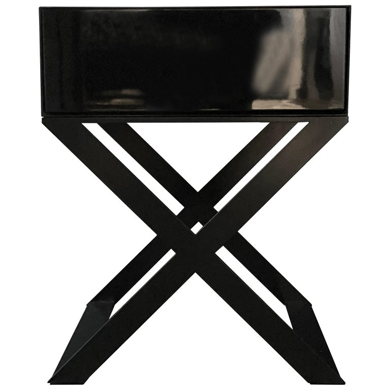 X-Leg Bedside Table in Black Lacquered and Black Powder Coated Steel Legs For Sale
