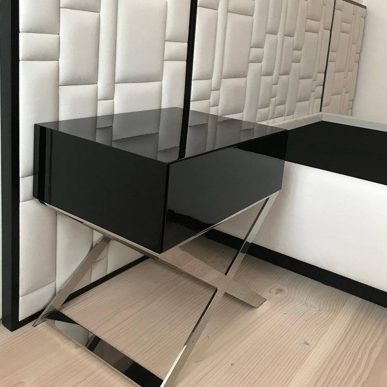 X-Leg Bedside Table in Black Lacquered and Steel Legs For Sale 5