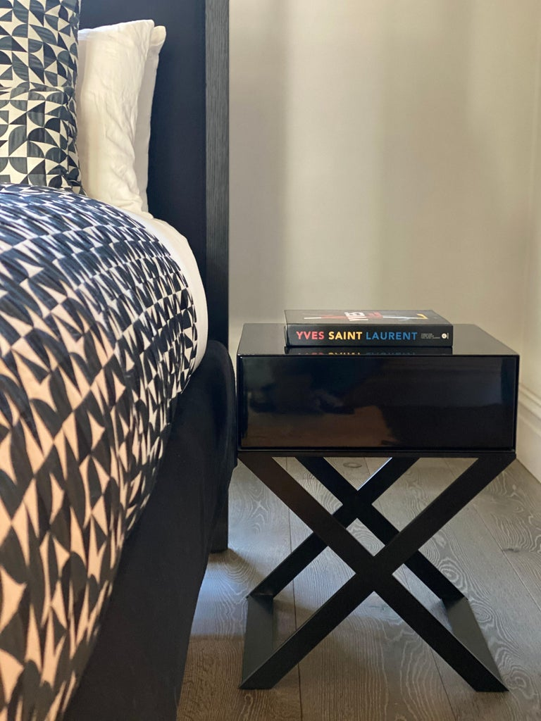 British X-Leg Bedside Table in Black Lacquered and Steel Legs For Sale