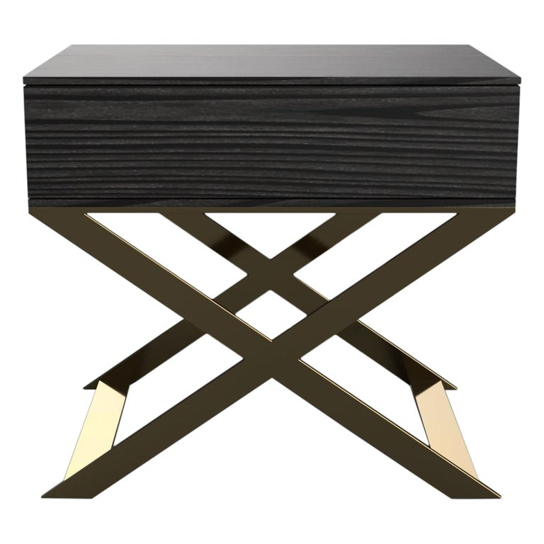 X-Leg Bedside Table in Black Lacquered and Steel Legs For Sale