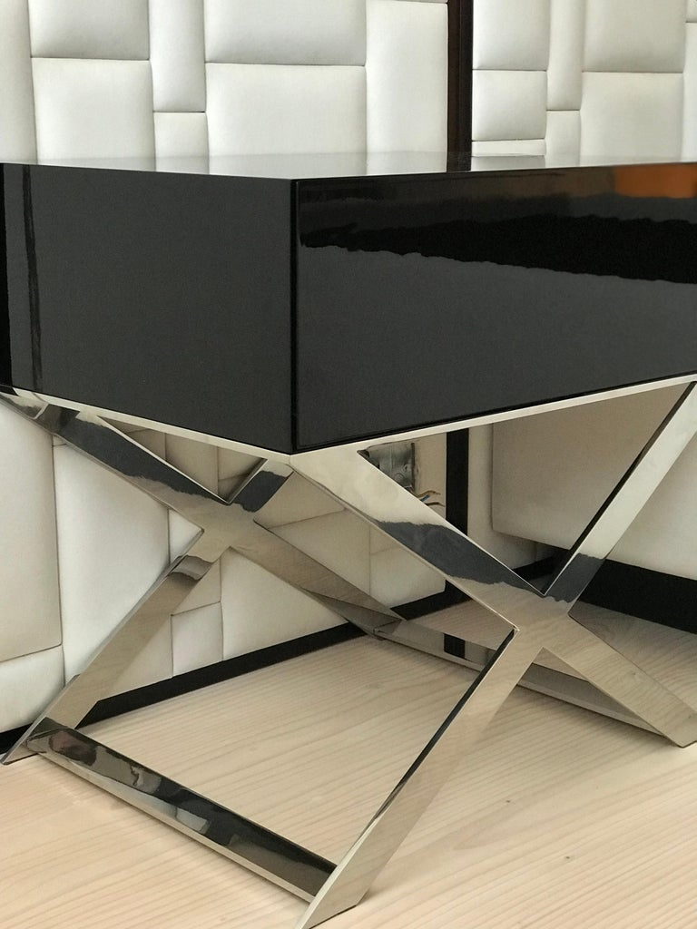 Art Deco X-Leg Bedside Table in Black Lacquered and Polished Stainless Steel Legs For Sale