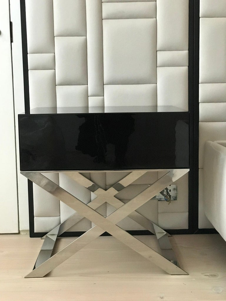 Powder-Coated X-Leg Bedside Table in Black Lacquered and Polished Stainless Steel Legs For Sale