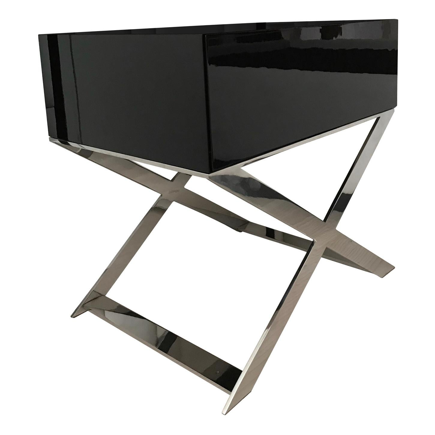 X-Leg Bedside Table in Black Lacquered and Polished Stainless Steel Legs