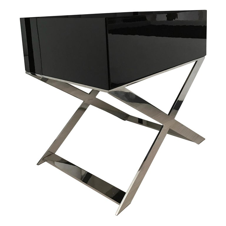 X-Leg Bedside Table in Black Lacquered and Polished Stainless Steel Legs For Sale