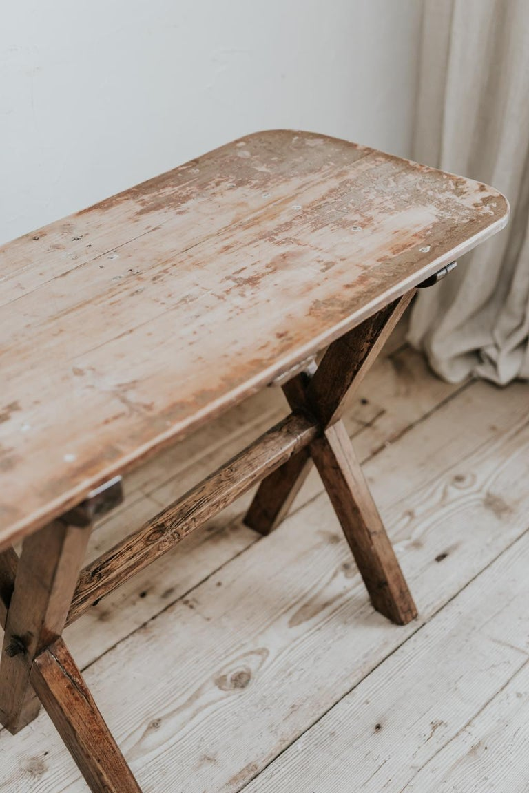 British X-Legged Pine Table For Sale