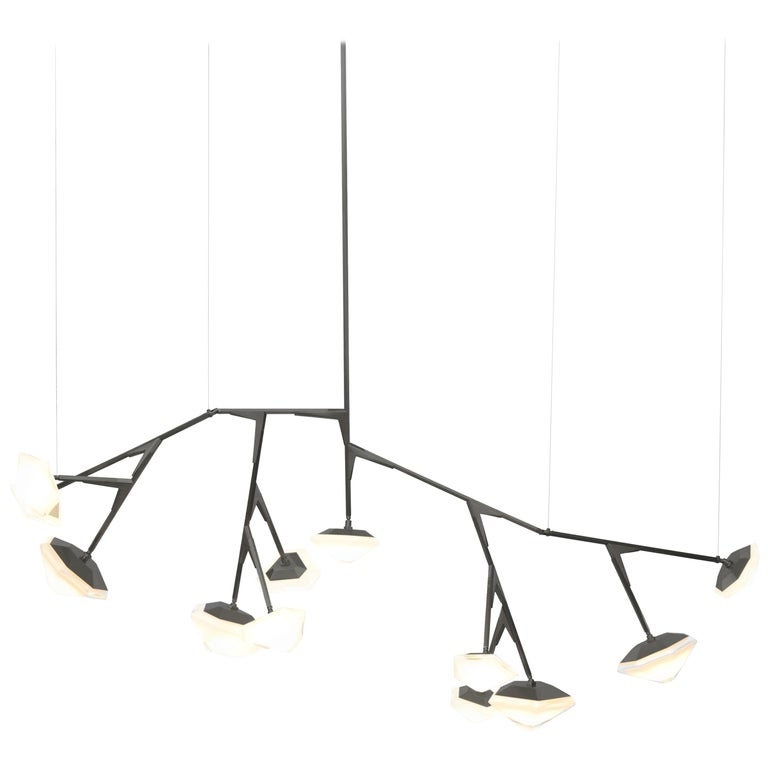 For Sale: Black (Black Steel) X-Long 13 Myriad Chandelier in Albaster White Glass by Gabriel Scott