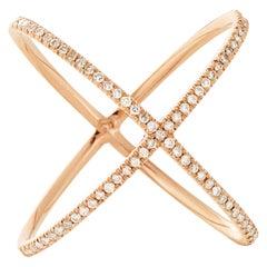 Eva Fehren X Ring in 18 Karat Rose Gold with Pale Champagne Diamond Pavé
