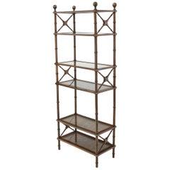 X Stretchers Faux Bamboo Cane and Glass Shelves Étagère Shelves