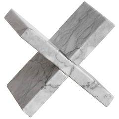 X Veneciano White Marble Bookend